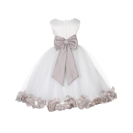 Ekidsbridal Satin Ivory Biscotti Tulle Petal Christmas Party Bridesmaid Recital Easter Holiday Wedding Pageant Communion Princess Birthday Clothing Baptism 302T size 6-9 month Flower Girl Dress