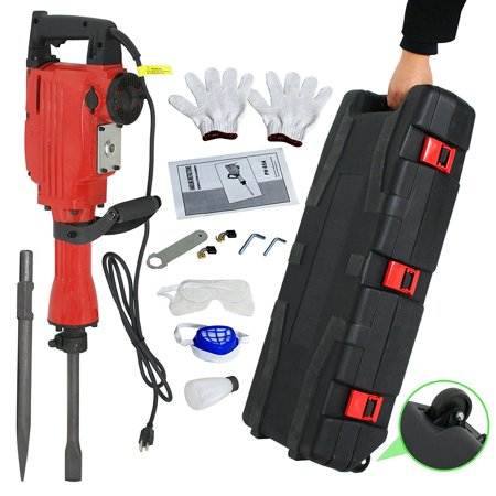 - Zimtown 2200W Electric Demolition Jack Hammer, Heavy Duty Concrete Breaker Power Tool Kit, with Chisel and Punch Bit Set, Case, and Gloves