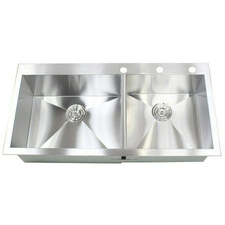 Contempo Living Inc 43-inch Stainless Steel Single Bowl Topmount Drop-in  Zero Radius Kitchen Island Bar Sink 16 Gauge