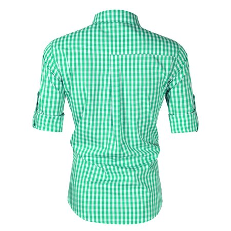 Men's Oktoberfest Costumes Long Sleeve Shirt Fashion Plaid Front Pocket Classical Shirt Tops Color:Green Size:S - image 3 of 8