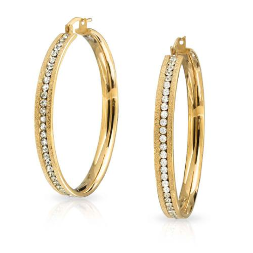Bling Jewelry Stardust Finish Gold Plated Stainless Steel CZ Hoop Earring