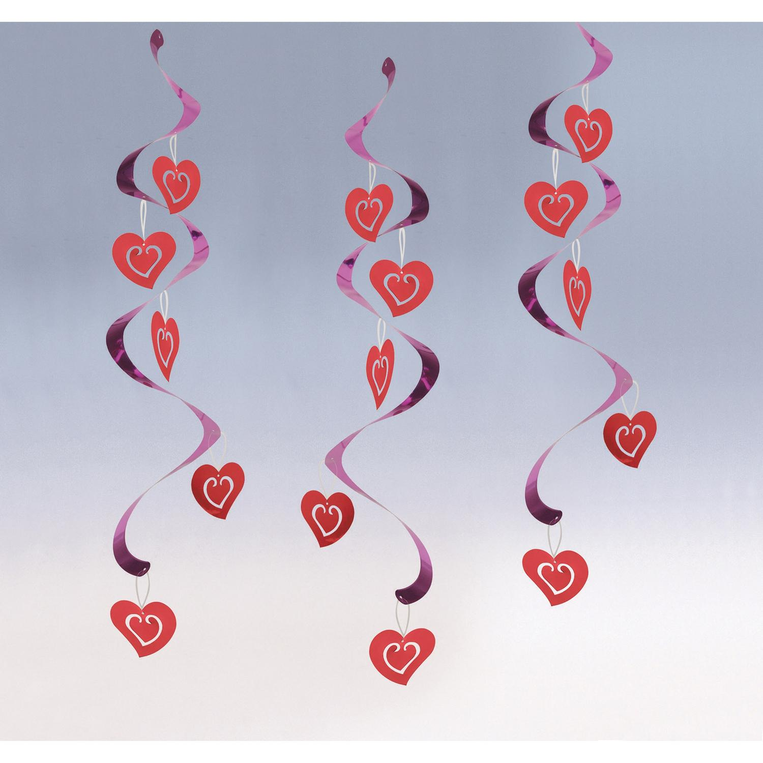 Pack of 60 Purple and Red Valentines Decor Printed Hanging party Dizzy Danglers 10.25""