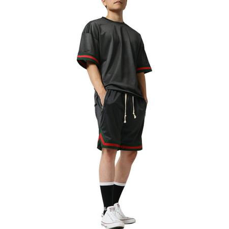 Mens Mesh Shirt Short Sleeve T-Shirt Urban Fashion Hip Hop Crew Neck Tee Sports Activewear