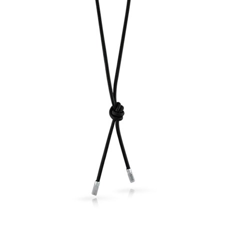 Simple Strong Smooth Genuine Black Leather Cord Rope Lariat 925 Sterling Silver Tips Necklace For Women For Men 27