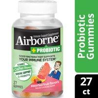 Airborne Plus Probiotic Immune Support Gummies with Vitamin C, Assorted Fruit - 27 Gummies