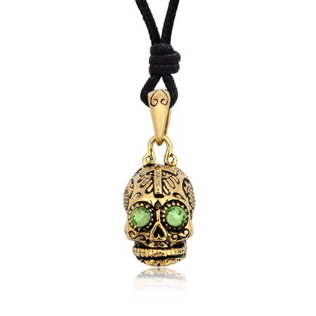- Green Emerald Handmade Brass Necklace Pendant Jewelry With Cotton Cord