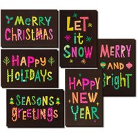 36-Pack Merry Christmas Holiday Greeting Card - Happy Holidays Xmas Cards in 6 Neon Color Designs, Bulk Assorted Festive Winter Holiday Cards with Green and Pink Envelopes, 4 x 6 Inches