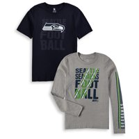 Seattle Seahawks Youth Playmaker 3-In-1 Long Sleeve/Short Sleeve T-Shirt Combo Pack - College Navy/Gray