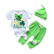 ARDYAL JELLY Baby Three-piece Suit, Print Romper + Pants + Hat for Party Set