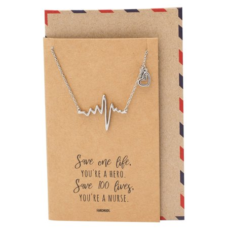 e93c41ac4 Quan Jewelry - Quan Jewelry Nurse Appreciation Gifts, Heartbeat ECG with  Heart Necklace, Lifeline Pulse Charm, Cardiogram Gifts for Women and Nurses  ...