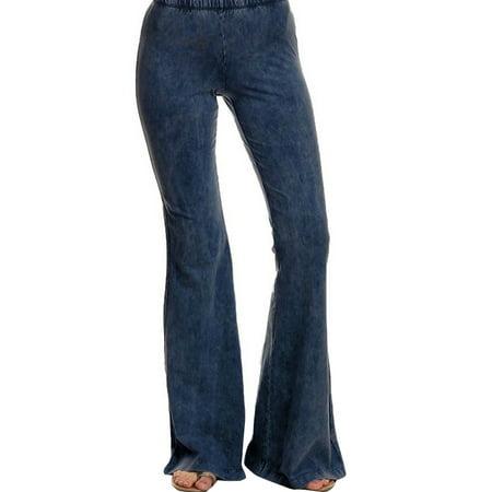 JDinms Women Skinny Flare Denim Jeans Retro Bell Bottom Wide Leg Pants Trousers