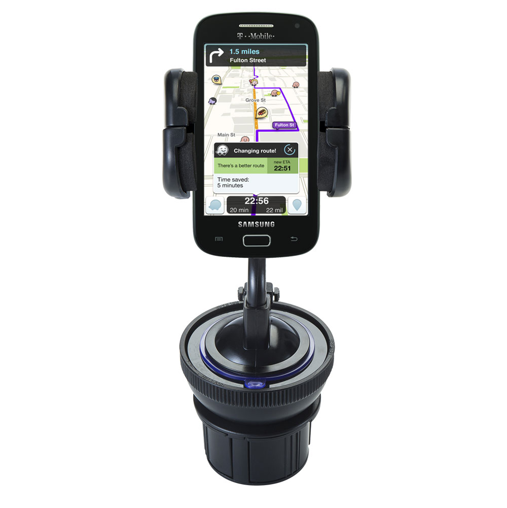 Unique Auto Cupholder and Suction Windshield Dual Purpose Mounting System for Samsung Galaxy S Relay - Flexible Holder System Includes Two Mount Optio