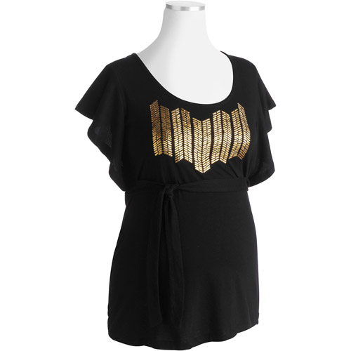 Maternity Embellished Belted Top with Chevron Beading