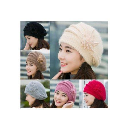 a6967fb0ac2 DAYUE - Wonderful Fashion Womens Flower Knit Crochet Beanie Hat Winter Warm  Cap Beret 109ZDCP16171 - Walmart.com
