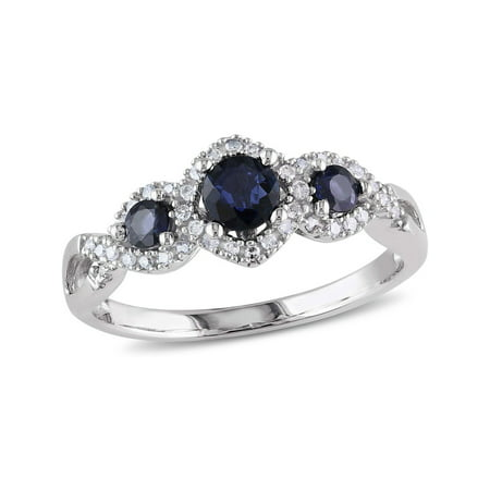 Blue Sapphire and Diamond Three Stone Ring 1/2 Carat (ctw) in 10k White