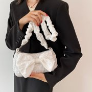Yocowu Retro Women Bowknot Pleated Underarm Bags Pearl Chain Solid Color Purse Handbags - image 7 of 9