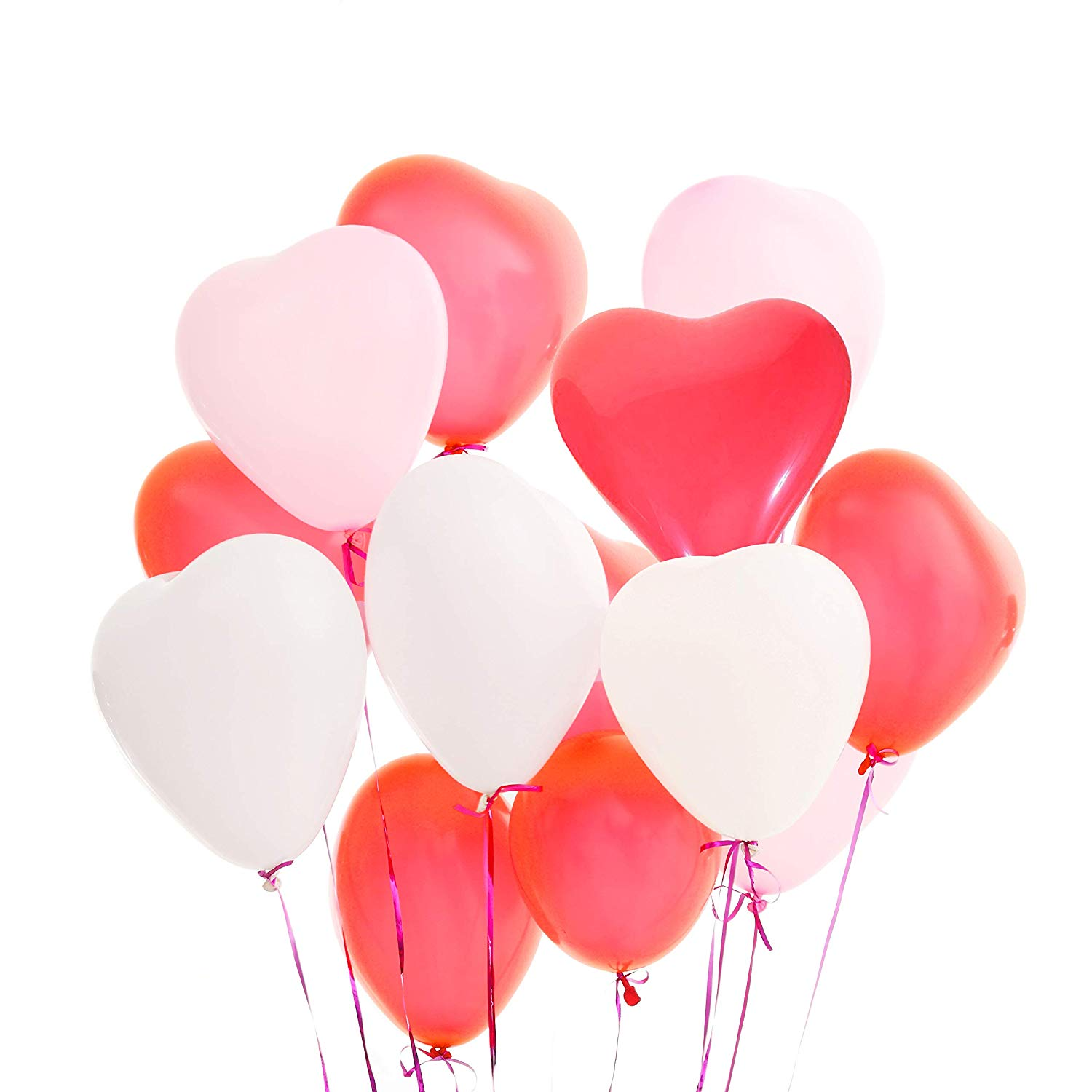 Valentines Day Balloons 50 Packs Heart Balloons 12 inch Latex Balloons for Wedding Decoration Birthday Decoration or Anniversary Decoration - Pink/White/Red LAttLiv