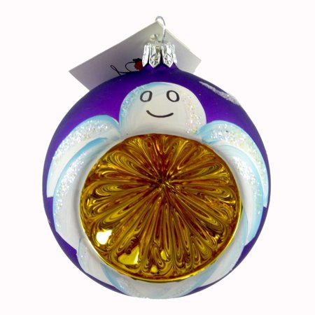 Laved Italian Ornaments GHOST PURPLE/GOLD REFLECTOR Glass Halloween J4726338 - Halloween Reflectors