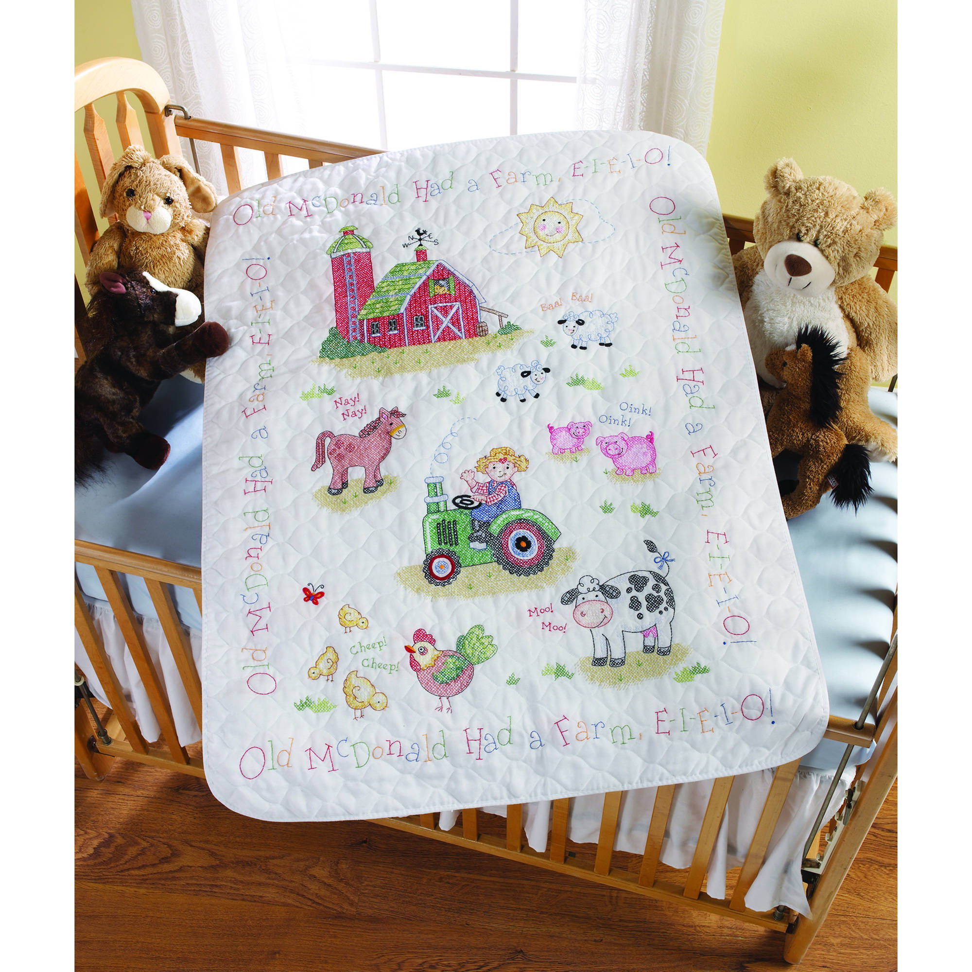 "Bucilla   Baby Stamped Cross Stitch Crib Cover Kit by Plaid, On the Farm, 34"" x   43"""