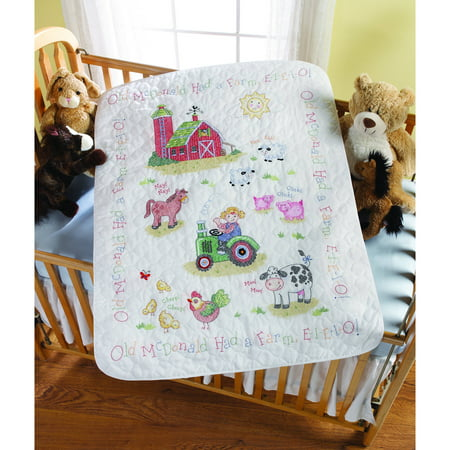 "Bucilla Baby 34"" x 43"" Stamped Cross Stitch Crib Cover On The Farm Kit, 1 Each"