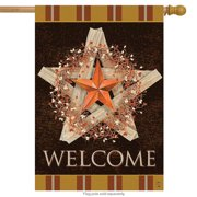 "Autumn Barnstar Primitive House Flag Welcome Pip Berries Fall 28 ""x 40"""