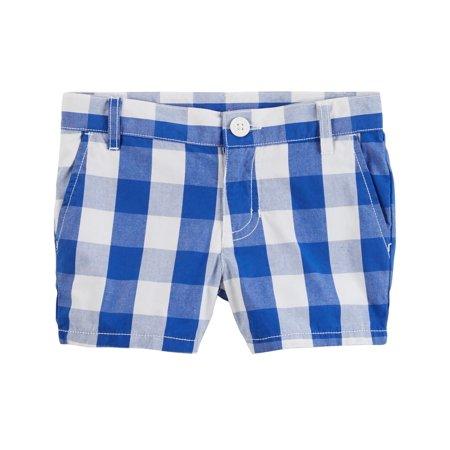 Gingham Girls Shorts - Carter's Girls' Gingham Poplin Shorts, Blue