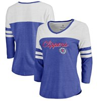 LA Clippers Fanatics Branded Women's Rising Script Color Block 3/4 Sleeve Tri-Blend T-Shirt - Royal