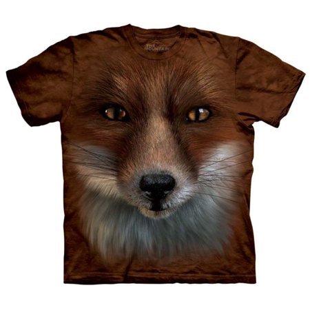 The Mountain Orange 100% Cotton Big Face Fox Realistic Graphic T-Shirt