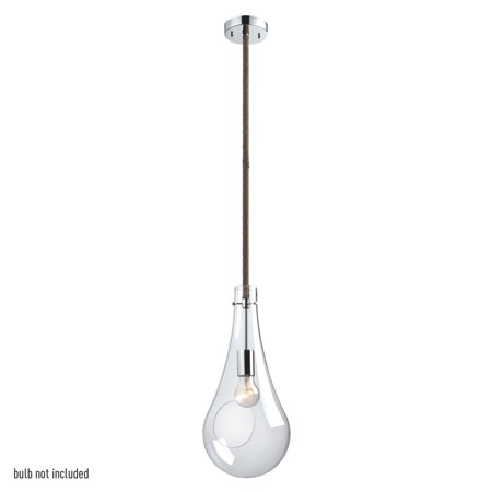 Globe Electric Terra 1-Light Polished Chrome Accent Pendant with Clear Glass Shade and Twine Wrapped Hanging Rod,