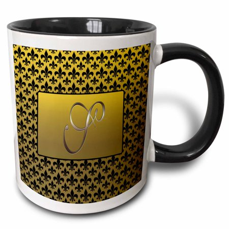 - 3dRose Elegant letter S embossed in gold frame over a black fleur-de-lis pattern on a gold background - Two Tone Black Mug, 11-ounce