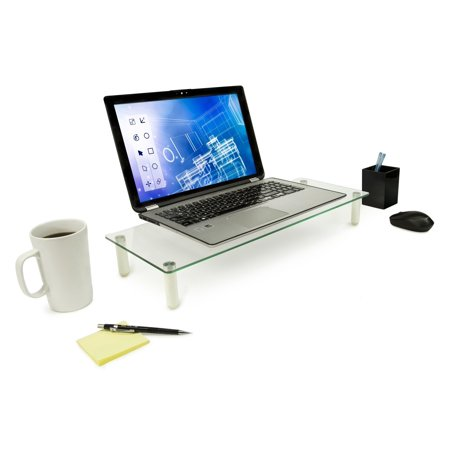 Mount-It! Computer Monitor, TV, Laptop Glass Stand, Desk Organizer, Riser, Aluminum Legs, and Height Adjustable, 44 lb Capacity (MI-7263)