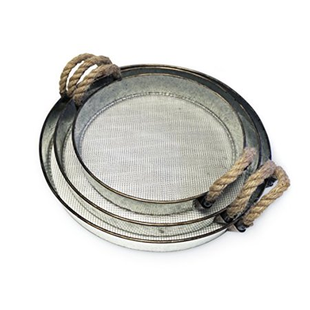 Round Metal Decorative Nesting Tray Set, Mesh Bottom with Rope Handles, Vintage Rustic Distressed Design, Serving Trays for Country Kitchen, Coffee Table, Set of - Round Metal Tray