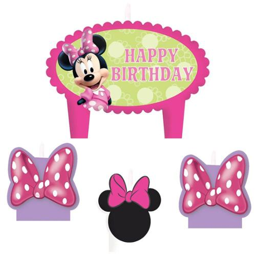 Minnie Mouse Birthday Candle Set (4 Pack) - Party Supplies