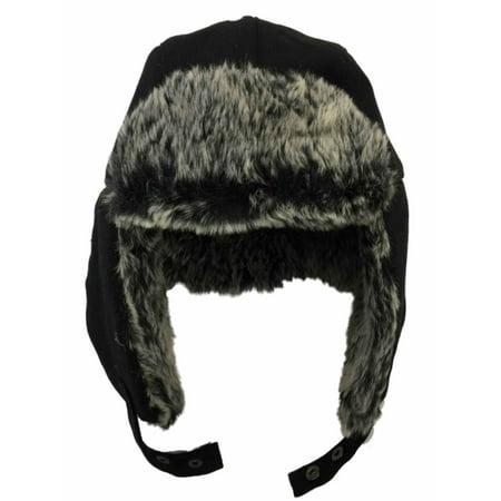 Mens Black Faux Furl Trimmed Winter Trapper Style Aviator - Mens Trapper Hats