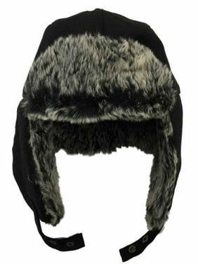 0de968a6ea0a0 Product Image Mens Black Faux Furl Trimmed Winter Trapper Style Aviator Hat.  Apt. 9