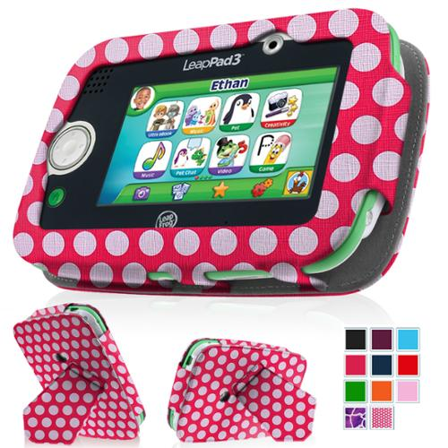 LeapFrog LeapPad3 Kids' Learning Tablet Case - Fintie Premium Vegan Leather Standing Carrying Cover, Polka Dot Pink