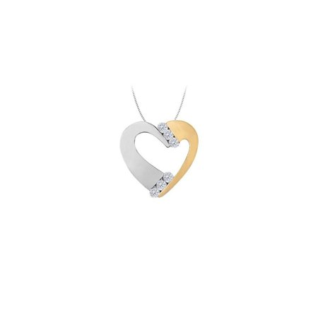 April birthstone Channel Set Two Tone Diamond Heart Pendant in 14K two tone Gold 0.50 CT TDW - image 2 of 2