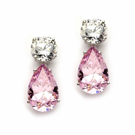 Diamond Essence Drop Earrings with Pear Shape Pink Stones and Round Brilliant Stones, 14.0 cts.t.w. - (Round Brilliant With Pear Shaped Side Stones)