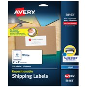 "Avery Repositionable Labels, Sure Feed, 2"" x 4"", 250 Labels (58163)"