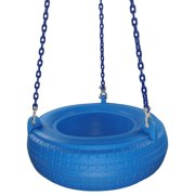 Swing Set Stuff Inc. Plastic Tire Swing with Coated Chain (Blue)