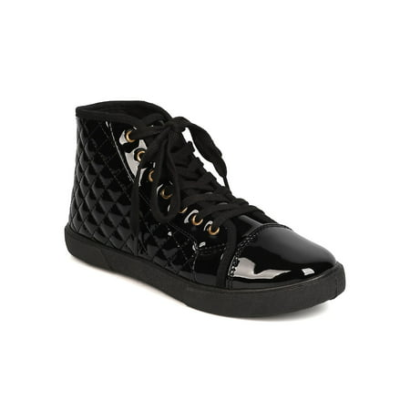 New Women Qupid Reeve-01 Patent PU Capped Toe Quilted High Top Sneaker