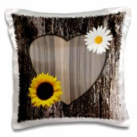 3dRose Wood Image Heart with Sunflower and Daisy, Pillow Case, 16 by 16-inch