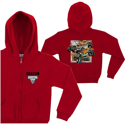 Personalized Monster Jam Crunch Bunch Boys' Red Zip-Up Hoodie