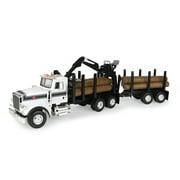 Big Farm Peterbilt Model 367 Logging Truck Toy with PUP Trailer & 10 Logs, Ages 3+