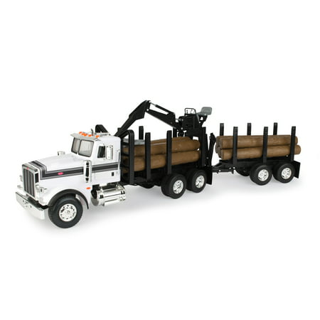 Big Farm Peterbilt Model 367 Logging Truck Toy with PUP Trailer & 10 Logs, Ages