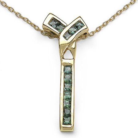 Genuine Square Green Sapphire Pendant in 14k Yellow Gold Plated Sterling Silver