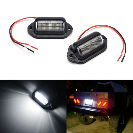 iJDMTOY (2)12V Add-On 6-SMD LED Lamps For Truck SUV Trailer Van As License Plate Lights, Step Courtesy Lights, Dome/Cargo Lights or Under Hood Lights,