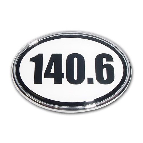 140.6 Black and White Oval Chrome Auto Emblem