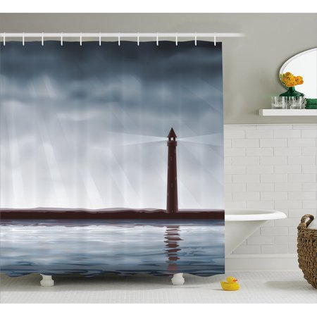 Lighthouse Shower Curtain Foggy Atmosphere Marine Life Navigation Journey Seascape Digital Style Fabric Bathroom Set With Hooks Bluegrey Chocolate