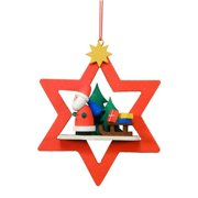 ULBR 10-0857 Christian Ulbricht Ornament - Santa with Sled in Red Star